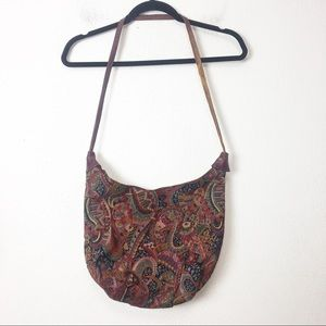 Vintage 50s Paisley Tapestry Shoulder Bag
